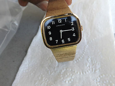 Vintage Men's Longines Black Dial Bracelet Watch With White Numbers