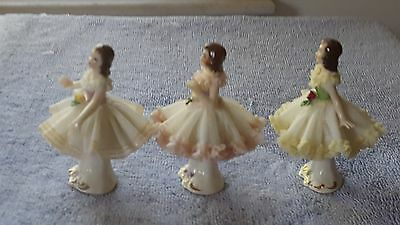 Dresden Lace Figurine Lot of Three Different Dancers