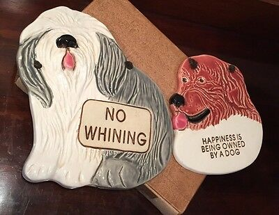 2 Dog Wall Plaque Happiness Owned No Whining SMOKY MOUNTAIN POTTERY 1994 USA