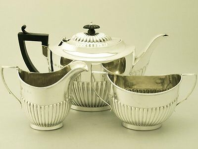 Sterling Silver Bachelor Tea Set, Birmingham, Circa 1909, Queen Anne Style