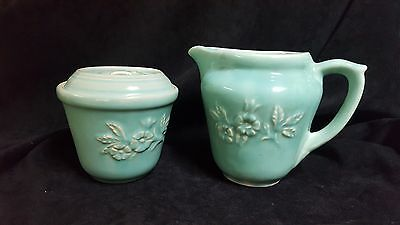 Vintage HULL Embossed Turquoise Semi Porcelain #407 Pitcher and #219 Bean Pot