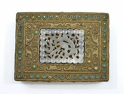 18C Chinese Jade Carving Plaque Copper Dragon Box Turquoise Carved Bead