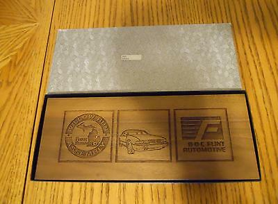 Vintage Wooden Laser Etched Desk Set From B-O-C Flint Willow Run Assembly 1989