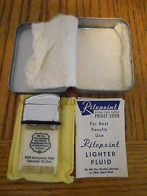 Rare Ritepoint Cigarette Lighter Original Box W/ Papers Metal Polishers Union