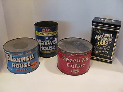 Vintage Coffee Can Lot of 3 With Bonus Tin