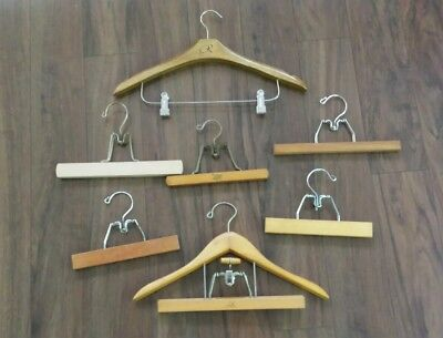 Lot of 7 Heavy Vintage Wood & All Metal Clamp Hangers Setwell Skirts Snow Pants