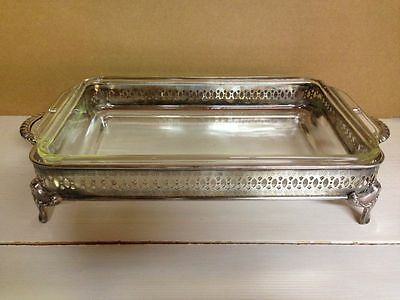 Vintage Fire King Casserole in International Silver Plated Chaffing Holder