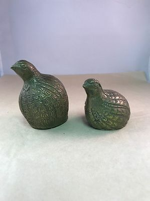 "Vintage Brass Partridge or Quail Pair 3.5"" and 2.5"" Tall"