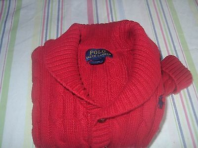 """Boys Ralph Lauren """"polo"""" Red Cable Cotton Cardigan Age 24Mths -Worn Twice"""