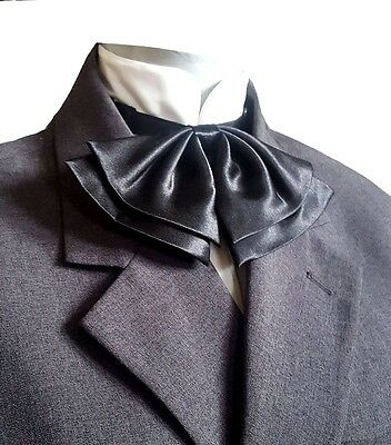 Black Satin Bow Tie Drop Knot Adjustable Neck Cravat Jabot Victorian Steampunk