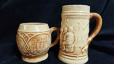 Two (2) HULL OLD TAVERN TANKER EARLY STONEWARE  BEER STEIN and MUG 1920'S