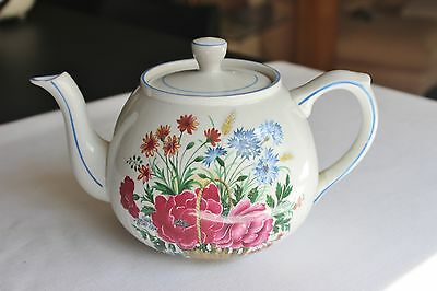 Vtg Ellgreave Floral Ironstone Teapot  Design By Wood & Sons England