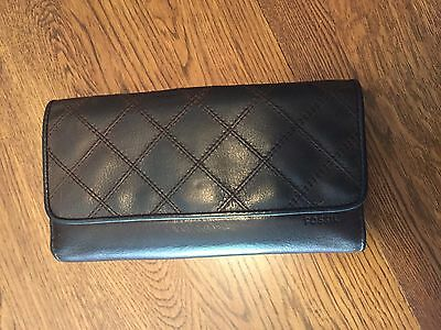 Vintage Women's FOSSIL Brown Leather Clutch Wallet Card ID Check Organize Wallet