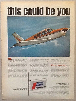 Piper airplane 1969 vintage ad 1960s photo advertisment flight school aircraft