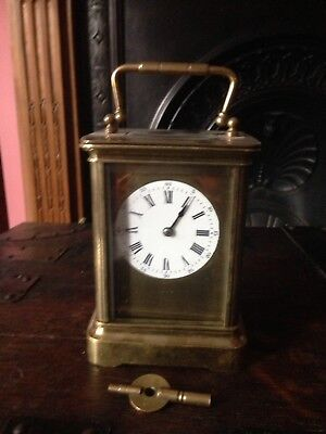 Large Antique Carriage Clock Great Working Order With Key
