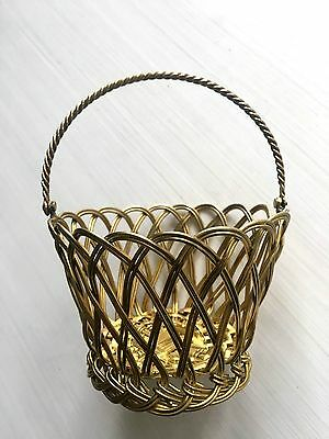 """Vintage Weave Woven Solid Brass Metal Basket 4"""" x 3"""" Movable Handle"""