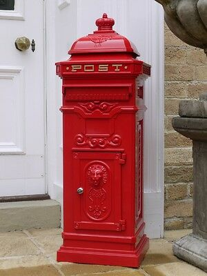 Antique Victorian Cast Aluminium large mail post letter box red