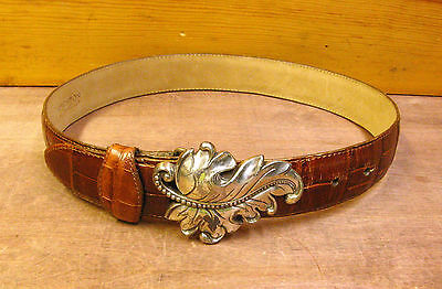Womens Size Small Brighton Brown Leather Reptile Grain Belt with Leaf Buckle