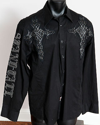 Roar  Embroidered Graphic Long Sleeve Button Down Shirt Men's XL