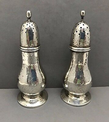 Sterling Silver Salt and Pepper Hammered Finish 4-1/2 inches