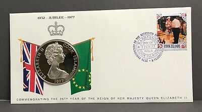 Cook Islands 1977 First Day of Issue Cover with $25 silver QEII 25th anniversary