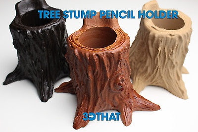 Wood Tree Stump Pencil Holder - Choose Finish - USA Made - 3D Printed With Wood