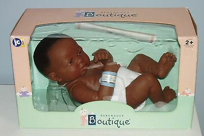 "Cute BERENGUER African American 14"" ANATOMICALLY CORRECT BOY Baby Doll MIB"