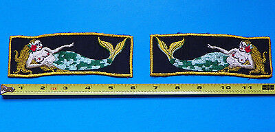 Wwii Pair Of Original Navy Mermaids Patches-No Glow