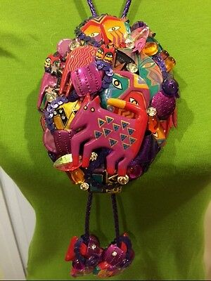 Extremely Rare OOAK  LAUREL BURCH Dog Cat + BOLO TIE NECKLACE Collage Artist