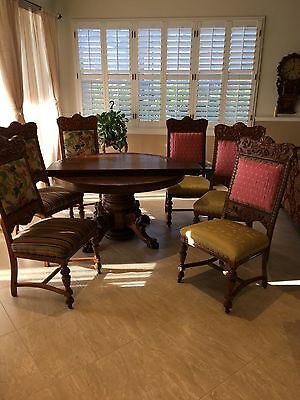 """Table: 54"""" Round Quartersawn Oak, Lions Heads, Claws, 3 Leaves, 6 Chairs, Server"""