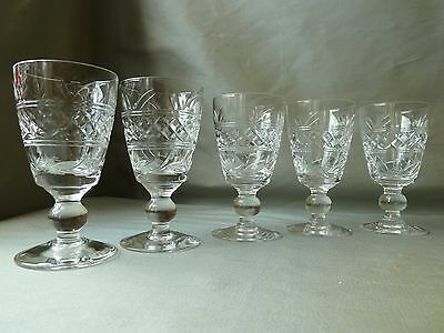 5 Stuart Crystal Imperial Cut Sherry Glasses , Signed, h10,4cm