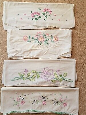 Lot of 4 VTG Embroidered Cross Stitch White Pillowcases