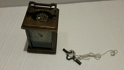 RARE  Vintage ARTDECO  Solid Brass Mantle/Carriage Clock ARTWORK With Key.