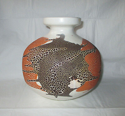 "7.25"" Royal Haeger white ""earth graphic wrap"" vase 4152, orange brown 1960s MCM"