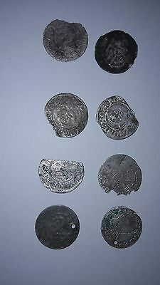Lot Of 8 Medieval Silver Hammered Coins -Ancient Artifact Fantastic