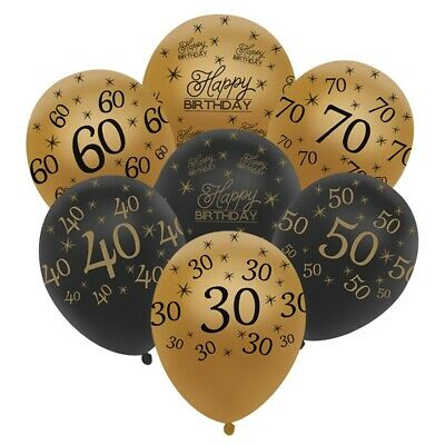 "12"" 10 Black and Gold Happy Birthday Age Number HELIUM LATEX BALLOON Party Decor"
