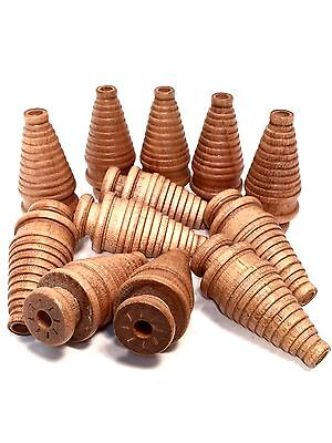 Wooden Spools 12 Small Industrial Textile Spinning Bobbins Vintage Wood NOS