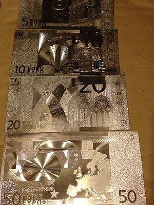 4pcs Lot SET EUROS Banknote Silver Foil 5 10 20 50 w/sleeve for each Free Ship