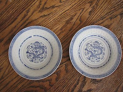 """2 Chinese Blue White Porcelain Dragon 8"""" Plates with Rice Pattern Design"""
