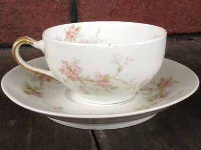 Theodore Haviland Limoge France Pink Rose H4072 Coffee Tea Cup Saucer