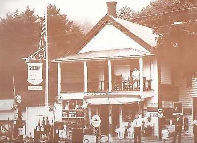 """Vintage 9"""" X 12"""" Sepia Schroon River SOCONY GAS Station"""