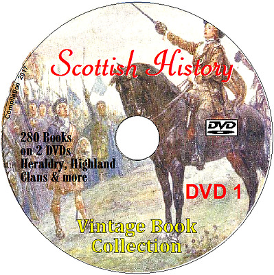 Scottish History collection 280 Books on 2 DVDs Heraldry, Highland Clans & more