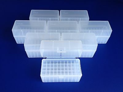 8 pack of 50 round plastic ammo boxes, SR-50 Small Rifle, 223, 222, 204, 5.45x39