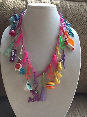 Vintage New 80's Plastic Bell Charm Necklace 18 Charms 1980 Party Dolphin