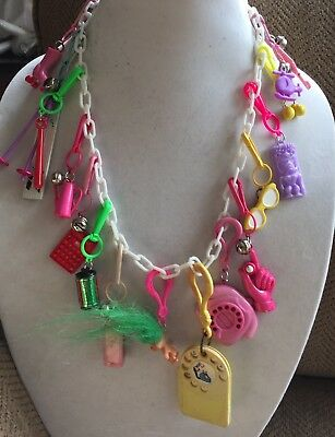 Vintage New 80's Plastic Bell Charm Necklace 18 Charms 1980 Party Address Book