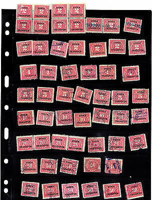 Mixed Lot of (56) U.S. TAX REVENUE TRANSFER STAMPS (red)  [7-13