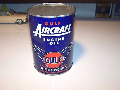 GULF AIRCRAFT ENGINE OIL VINTAGE FULL METAL QUART CAN Gulf Aviation Products