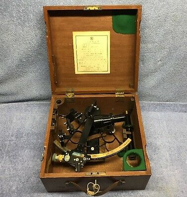 Vintage Tamaya Sextant, Excellent Condition w/ Wooden Case & Key!