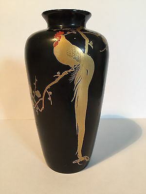 """Black Lacquered Japanese Bud Vase 6"""" Hand Painted Golden Rooster Mark Seal Sign"""