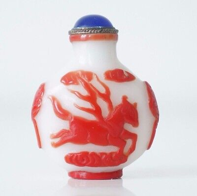White Glass Chinese Snuff Bottle With Red Overlay & Blue Top